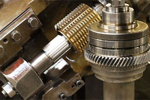 helical gear being cut on one of our many helical machines